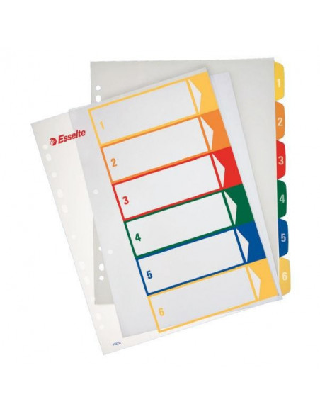 Separatoare Index Plastic Imprimabil Esselte 1 - 6
