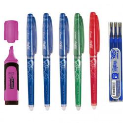 Set Roller Pilot Frixion 0.5 mm Albastru 3 bucati, Rosu, Verde + Set 3 rezerve + Textmarker D.rect