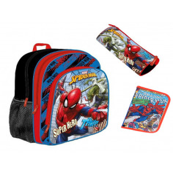 Set scoala Spiderman - Ghiozdan, Penar Neechipat, Penar Etui, 20 caiete Herlitz A5 48 File