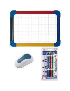 Set Tabla scolara Bi-Silque cu rama color A4, 4 Markere whiteboard Carioca, burete