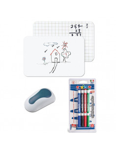 Set Tabla alba fara rama A3 Bi-Silque, 4 Markere whiteboard Carioca, burete