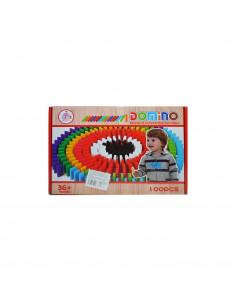 Domino de lemn colorat, 100 piese/cutie