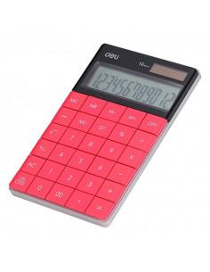 Calculator Birou Deli 12 Digiti Modern, rosu