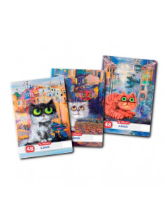 Set 10 Caiete A5, 48 File, 70 g/mp, Dictando, Motiv Crazy Cats