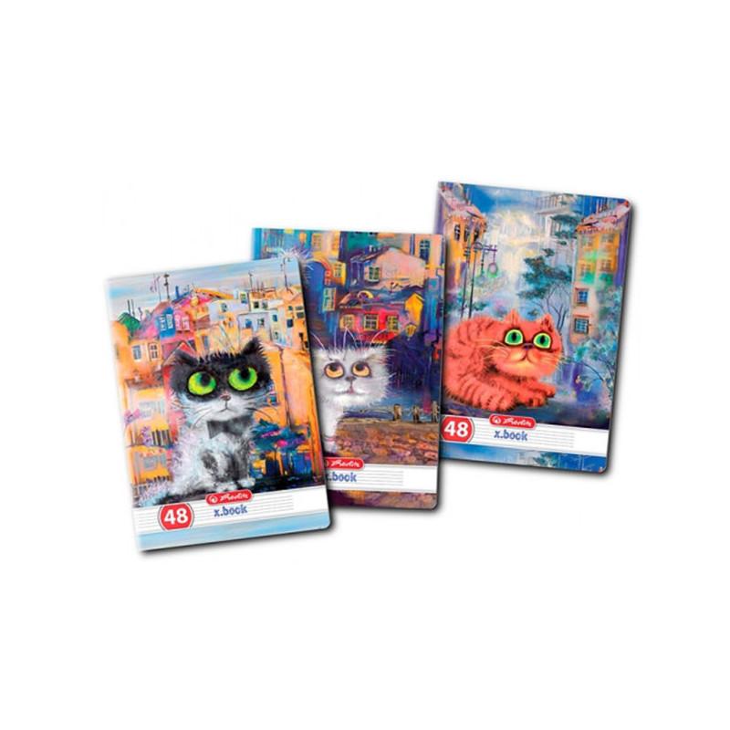 Set 10 Caiete A5, 48 File, 70 g/mp, Dictando, Motiv Crazy Cats