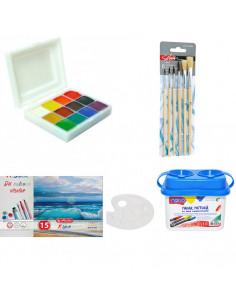 Set Pictura 3 - Acuarele 12 culori Pictor, Pahar pictura, Pensoane, Paleta si Bloc desen