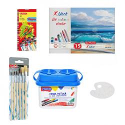 Set Pictura 6 - Acuarele tempera 10 culori, Pahar pictura, Pensoane, Paleta si Bloc desen