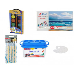 Set Pictura 11 - Acuarele BIC Kids Watercolours, Pahar pictura, Pensoane, Paleta si Bloc desen