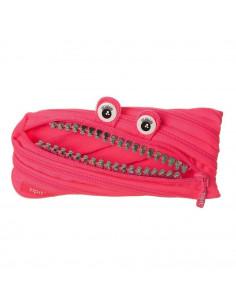 Penar cu fermoar, ZIPIT Grillz Monster - roz cu dinti argintii
