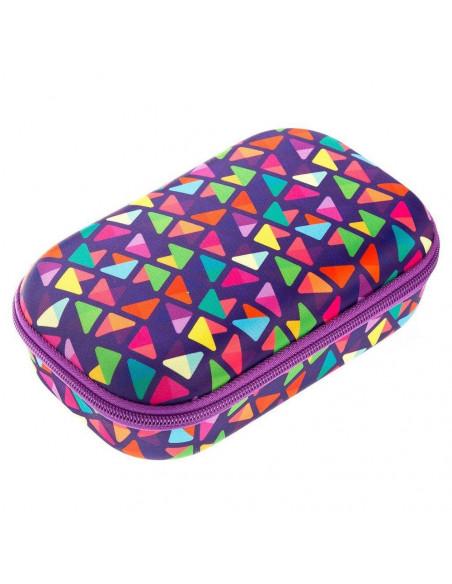 Penar cu fermoar, ZIPIT Colorz Storage box - triunghiuri mov