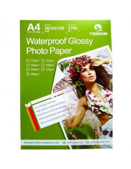 Hartie foto Yesion Waterproof Glossy A4, 230g/mp, 50 coli/pachet
