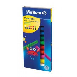 Plastilina Pelikan, Set 12 Culori Standard, Cutie Carton