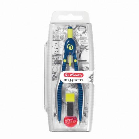 Compas My Pen Setare Rapida Albastru Inchis/Lime Herlitz