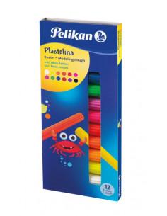 Plastilina Set 12 Culori Fluorescente Cutie Carton Pelikan