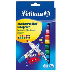 Carioca Colorella Super 411, Set 12 Culori, Varf Tesit Pelikan