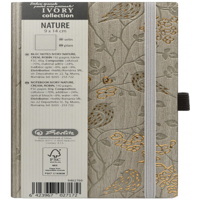 Bloc Notes Ivory Nature 9 X 14 Cm 192 Pagini Velin Coperta Pu