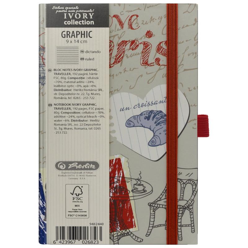 Bloc Notes Ivory Graphic 9 X 14 Cm 192 Pagini Dictando Motiv