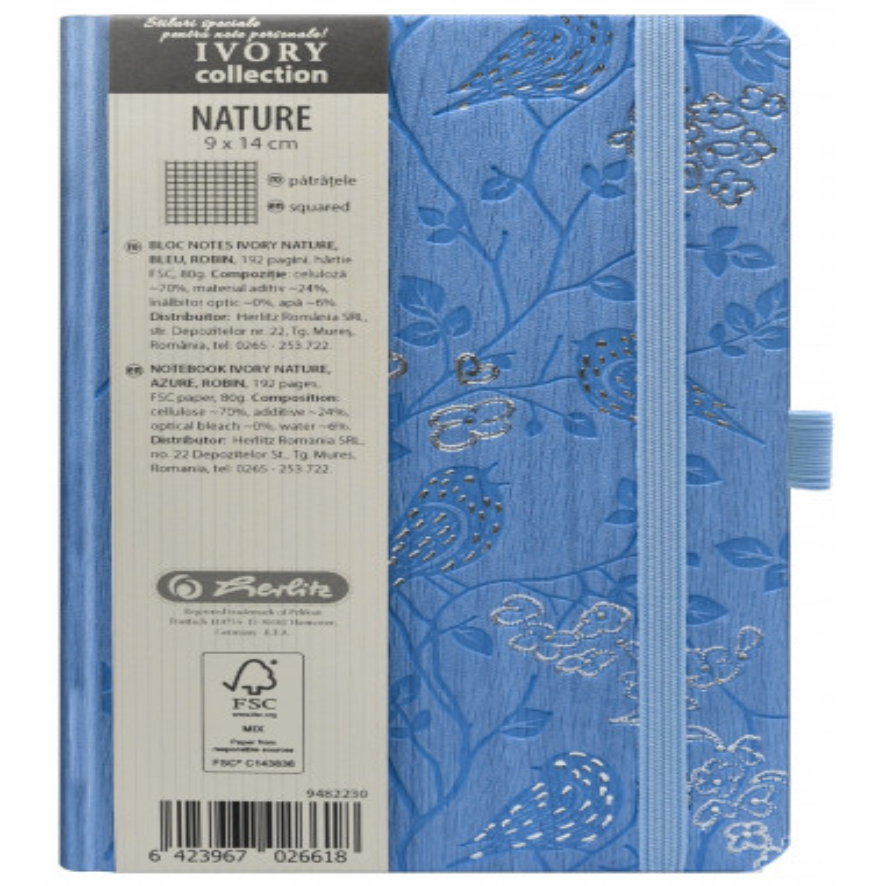 Bloc Notes Ivory Nature 9 X 14 Cm 192 Pagini Patratele Coperta