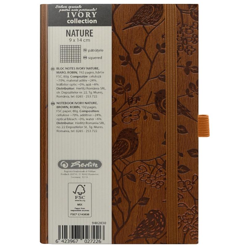 Bloc Notes Ivory Nature 9 X 14 Cm 192 File Patratele Coperta Pu