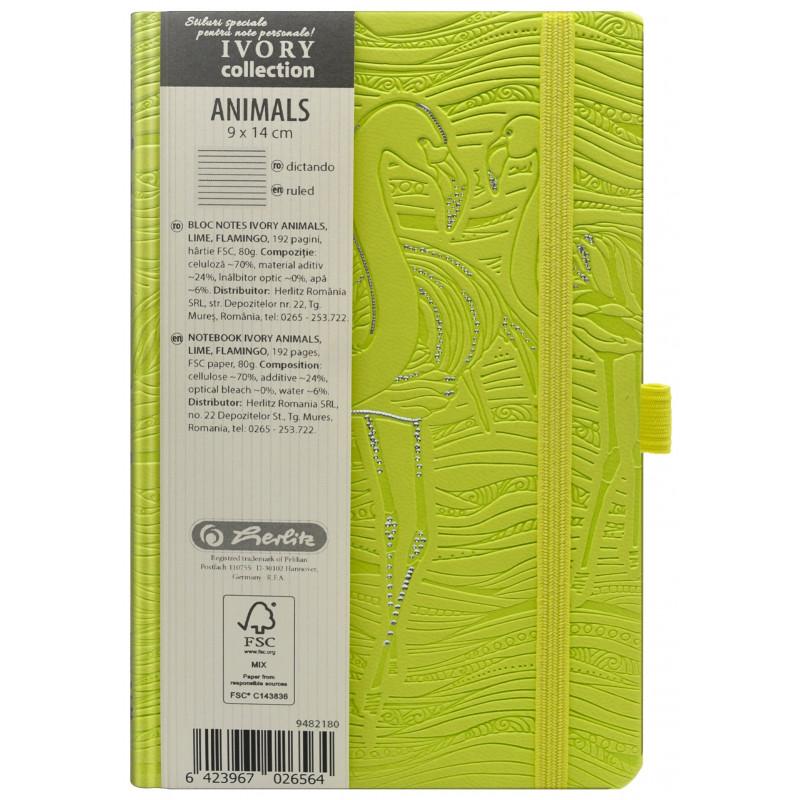 Bloc Notes Ivory Animals 9 X 14 Cm 192 Pagini Dictando Coperta