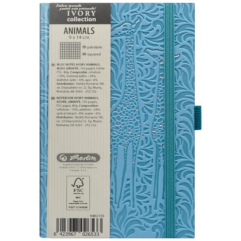 Bloc Notes Ivory Animals 9 X 14 Cm 192 Pagini Patratele Coperta