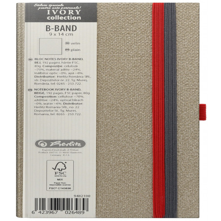 Bloc Notes Ivory B-Band 9 X 14 Cm 192 Pagini Velin Coperta Pu