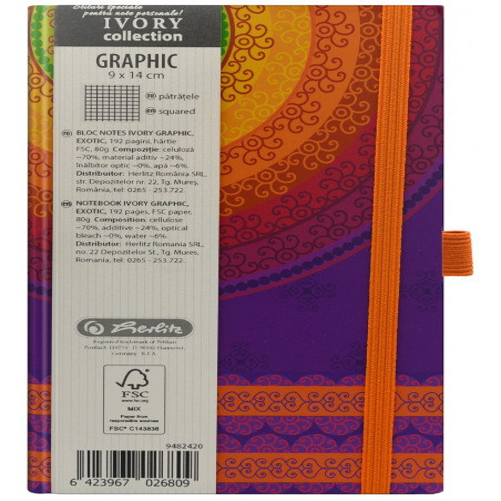Bloc Notes Ivory Graphic 9 X 14 Cm 192 Pagini Patratele Motiv