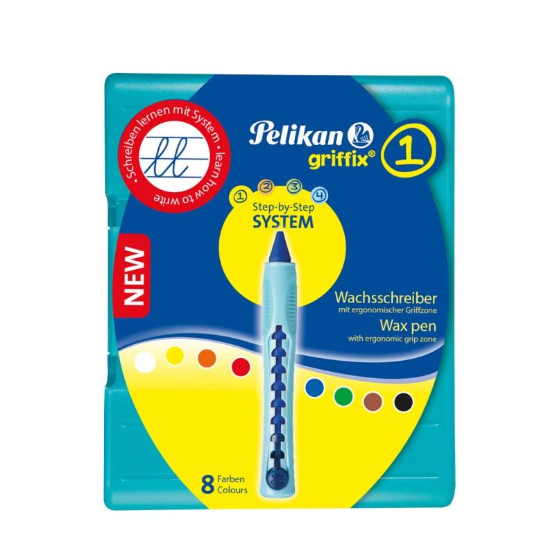 Creion Cerat Griffix, Set 8 Culori, Suport Plastic Reglabil