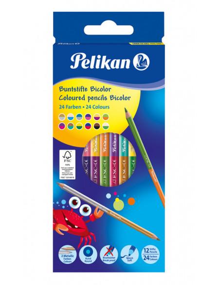 Creioane Bicolor Lacuit, Set 12 Bucati, 24 Culori, Sectiune