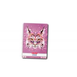 Caiet A4 80F Spirala Patratele Perforat Motiv Wild Animals Lynx Herlitz