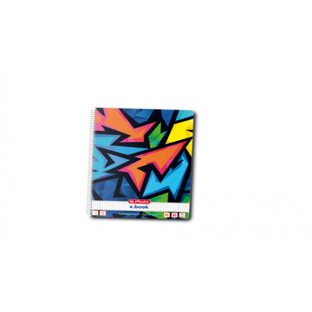 Caiet A4 80F Spirala Patratele Perforat Motiv Neon Art Herlitz