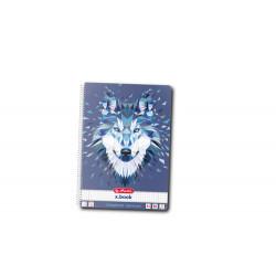 Caiet A4 80F Spirala Patratele Perforat Motiv Wild Animals Wolf