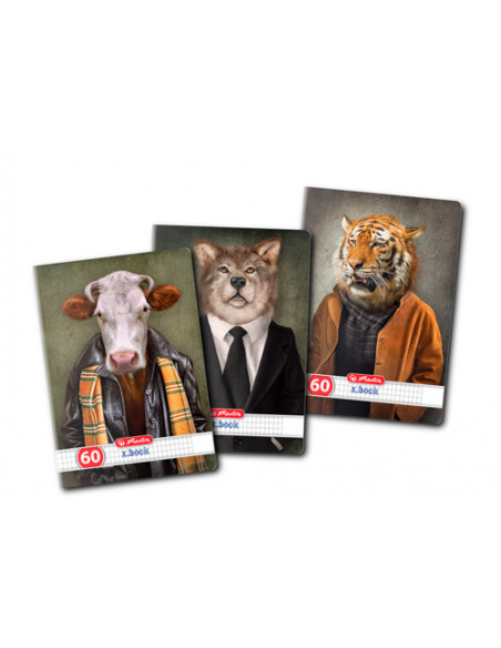 Caiet A4 60 File Patratele Hipster Animals Herlitz