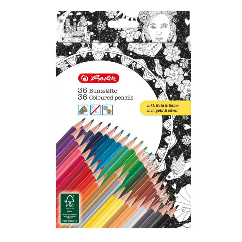 Creioane Color Triunghiulare Zentangle Set 36 Bucati, Include