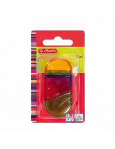 Ascutitoare + Radiera Plastic Ovala 2 In 1 Diverse Culori/Blister Herlitz