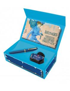 Stilou Classic M120 F, Cu Piston, Penita Din Otel Inoxidabil, Accesorii Placate Cu Aur, Corp Iconic Blue + Cerneala Pelikan