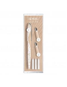 Stilou My.Pen Style Caligrafie + 3 Penite, Dimensiune 0, 9/1, 4/1, 9, Pure Glam - Cutie Eleganta Din Plastic Herlitz