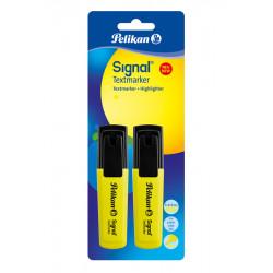 Textmarker Signal, Galben Fluorescent, 2 Buc, Blister Pelikan
