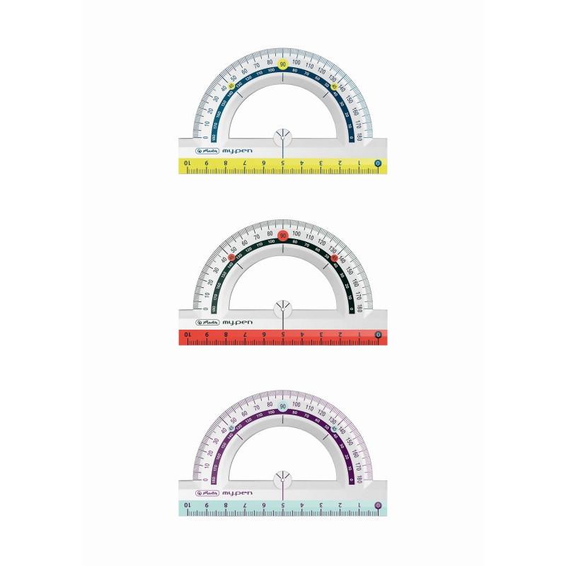 Raportor Plastic 10Cm My.Pen 3 Combinatii De Culori Herlitz