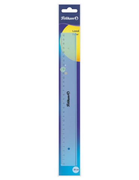 Rigla Plastic 30 Cm, Albastru Transparent Pelikan