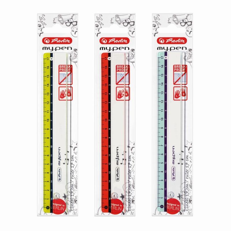 Rigla Plastic 17Cm My.Pen 3 Combinatii De Culori Herlitz