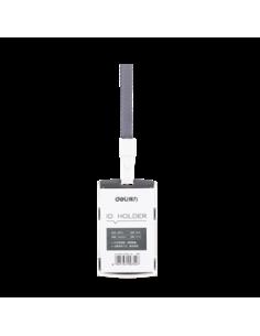 Ecuson Vertical Deli Rigid Cu Capsa Si Snur Pentru Carduri 54*85 mm, Negru
