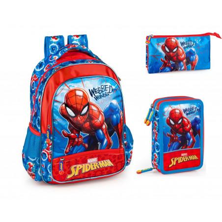 Set scoala Spiderman. - Ghiozdan, Penar echipat, Penar etui