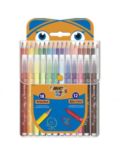 Pachet Mixt Coloriaj BIC : Creioane Colorate Evolution BIC cut/18 , Markere de Colorat Kid Couleur BIC cut/12