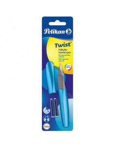 Stilou Twist Frosted Blue, Cu Grip Ergonomic, 2 Rezerve Albastre, Blister Pelikan