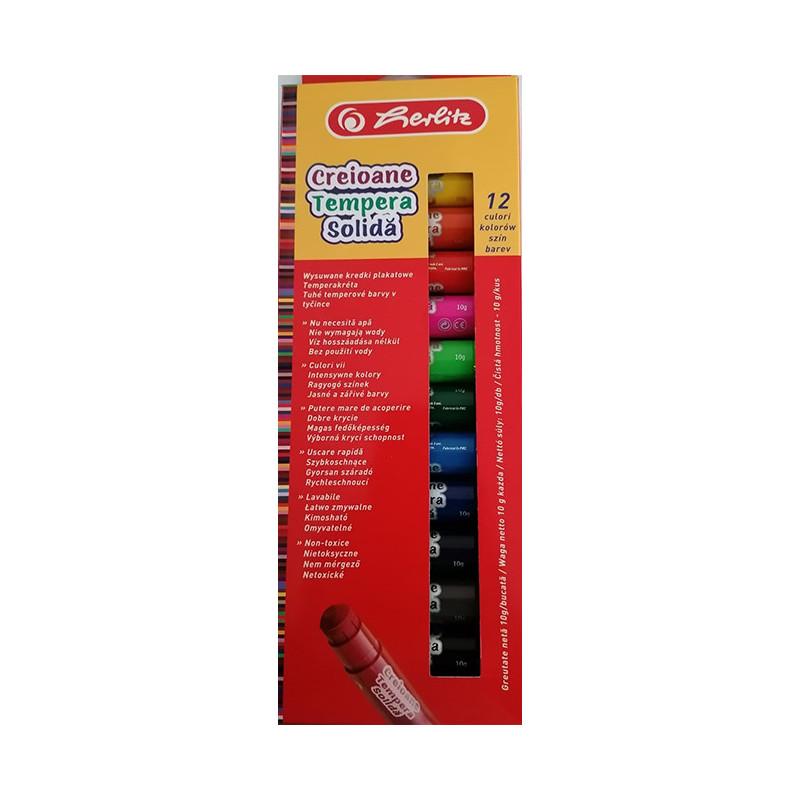 Tempera Solida tip creion, Herlitz, 10 G, 12 culori/set