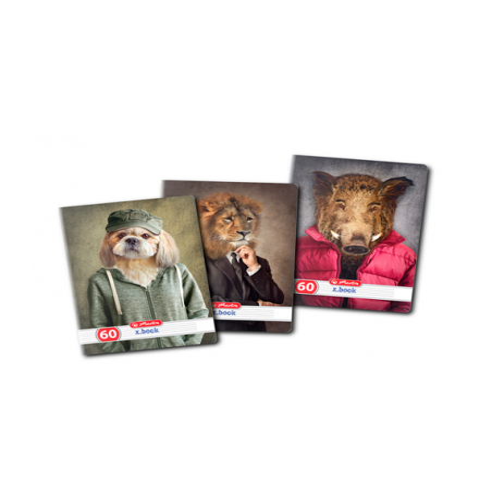 Set 10 caiete Herlitz Hipster Animals A4, Dictando, 60 File