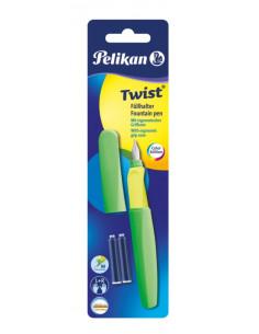 Stilou Twist Verde Neon, Cu Grip Ergonomic, 2 Rezerve Albastre, Blister Pelikan