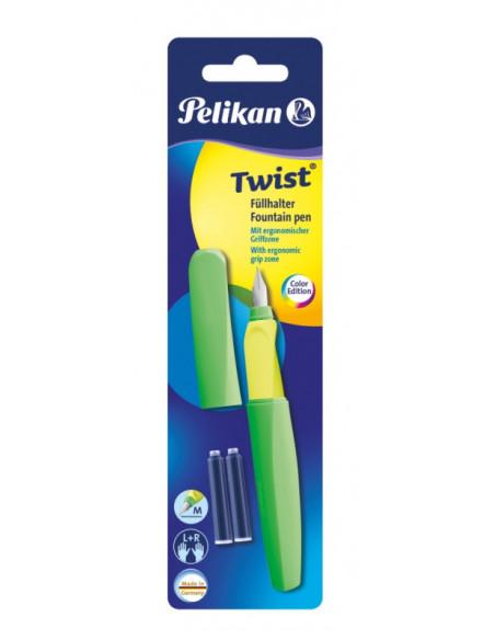 Stilou Twist Verde Neon, Cu Grip Ergonomic, 2 Rezerve Albastre