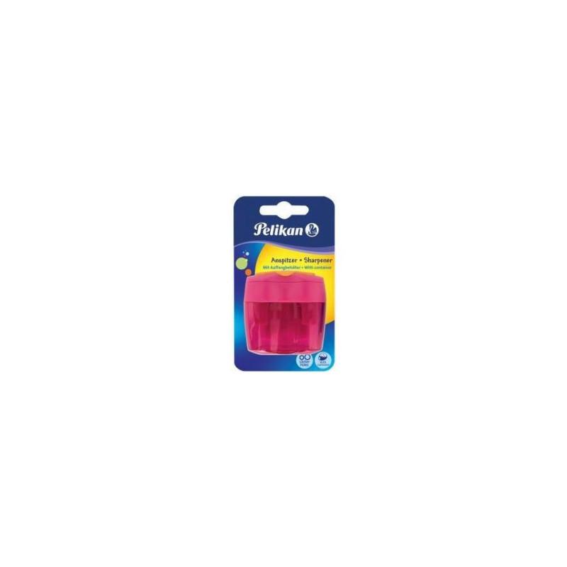 Ascutitoare Plastic Dubla Cu Container, Roz, Blister, Pelikan